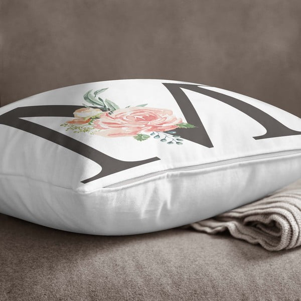 Față de pernă Minimalist Cushion Covers Floral Alphabet M, 45 x 45 cm
