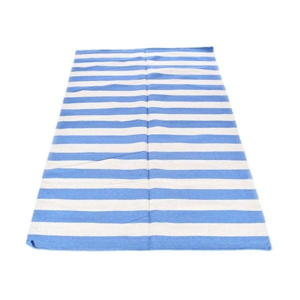 Vlněný koberec Geometry Stripes Pigeons Blue & White, 160x230 cm
