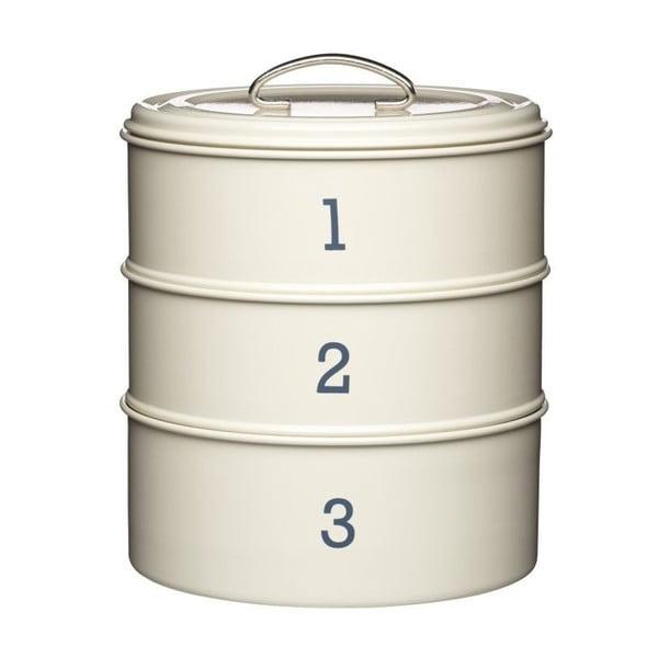 """Krémová sada tří plechových dóz Kitchen Craft """"123"""""""