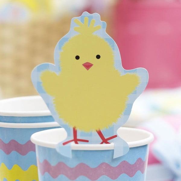 Zestaw 10 papierowych dekoracji na szklanki Neviti Easter Chick