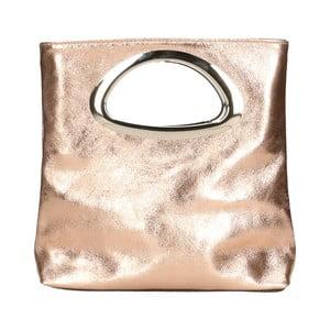 Růžová kožená kabelka Chicca Borse Lumino
