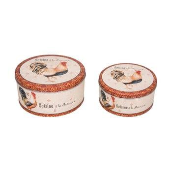 Set 2 recipiente de stocare din tablă Antic Line Gallo imagine