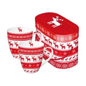 Sada 2 hrnků z kostního porcelánu s vánočním motivem v dárkovém balení PPD Magic Rojo Christmas, 350 ml