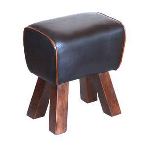 Stolička z masivního dřeva s koženým potahem Interlink Alaid