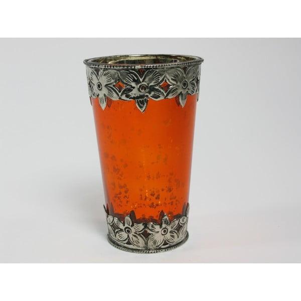 Svícen s patinou Cozy Orange, 13 cm
