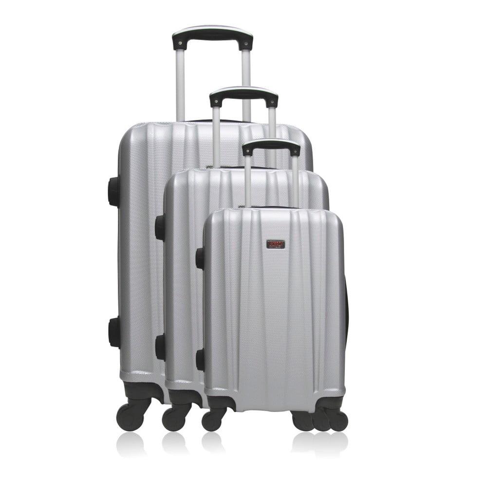 Sada 3 cestovních kufrů stříbrné barvy na kolečkách Hero Poppy