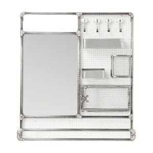 Oglindă cu polițe arigintii Kare Design Mirror Buster Organizer, 71 x 80 cm