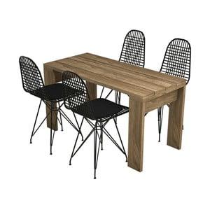 Sada 4 jídelních židlí a jídelního stolu Yonca