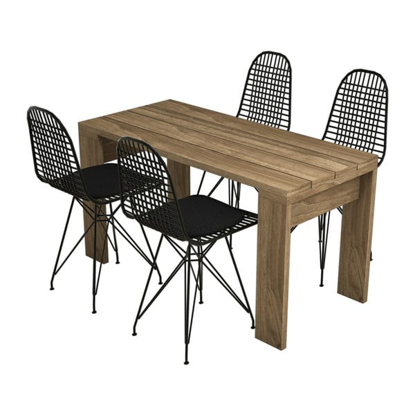 Komplet 4 krzeseł i stołu Yonca