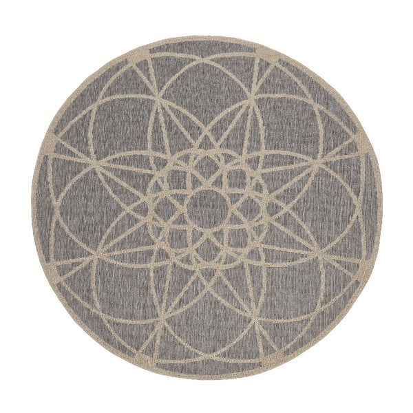Šedý venkovní koberec Floorita Tondo, ø 194 cm