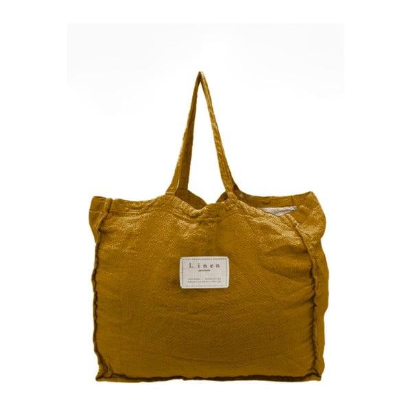 Geantă textilă Linen Mustard, lățime 50 cm