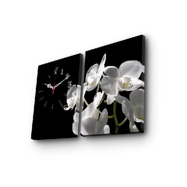 Dekoratívne nástenné hodiny Kvety, 64×40 cm