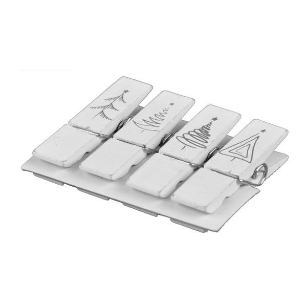 Sada 4 bílých dekorativních kolíčků Ego Dekor Xmas