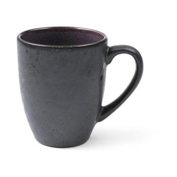 Cană cu toartă din ceramică și glazură interioară mov Bitz Mensa, 300 ml, negru