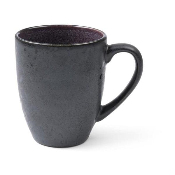 Černý kameninový hrnek s ouškem s vnitřní glazurou ve fialové barvě Bitz Mensa, 300 ml