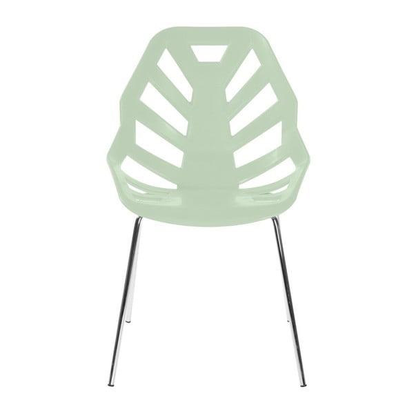 Set 2 světle zelených židlí Ninja, chromové nohy