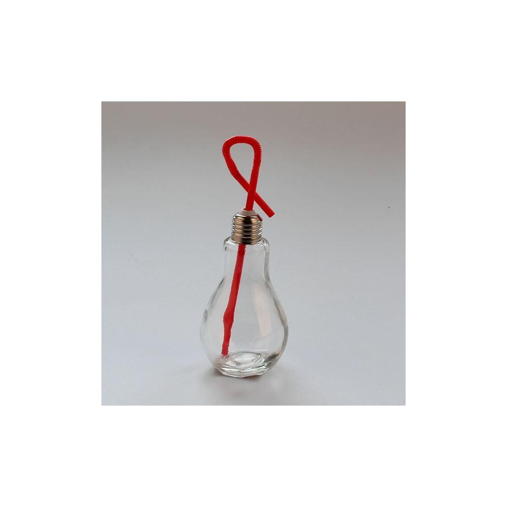 Sklenice s červeným brčkem Dakls, 250ml