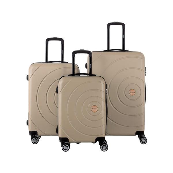Sada 3 béžových cestovních kufrů Berenice Circle