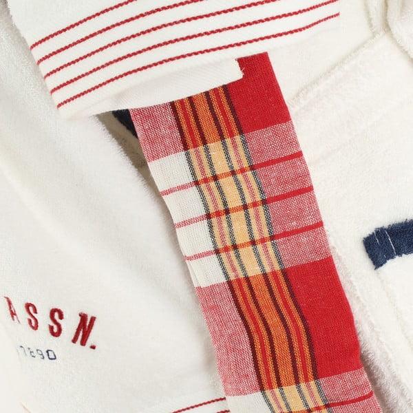 Bílá sada dámského županu a 2 ručníků U.S. Polo Assn. Nebraska, vel. M/L