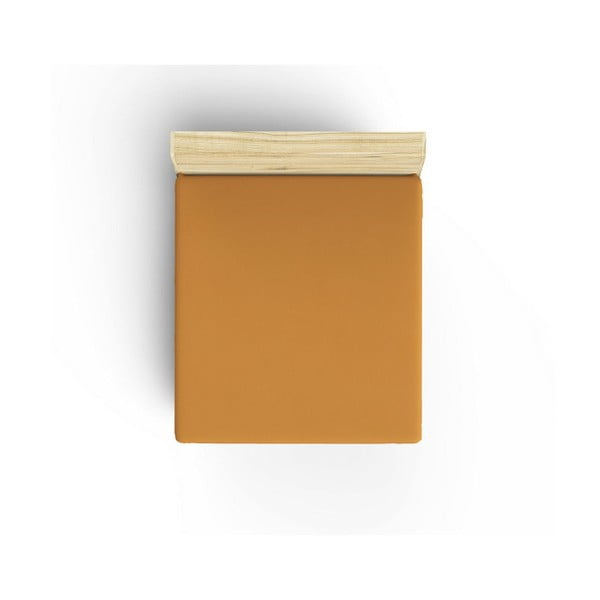 Pomarańczowe nieelastyczne bawełniane prześcieradło jednoosobowe Caresso, 90x190 cm