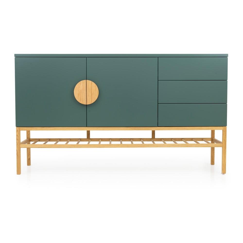 Zelený dvoudveřový příborník se 3 zásuvkami s nohami z dubového dřeva Tenzo Scoop, šířka 176 cm
