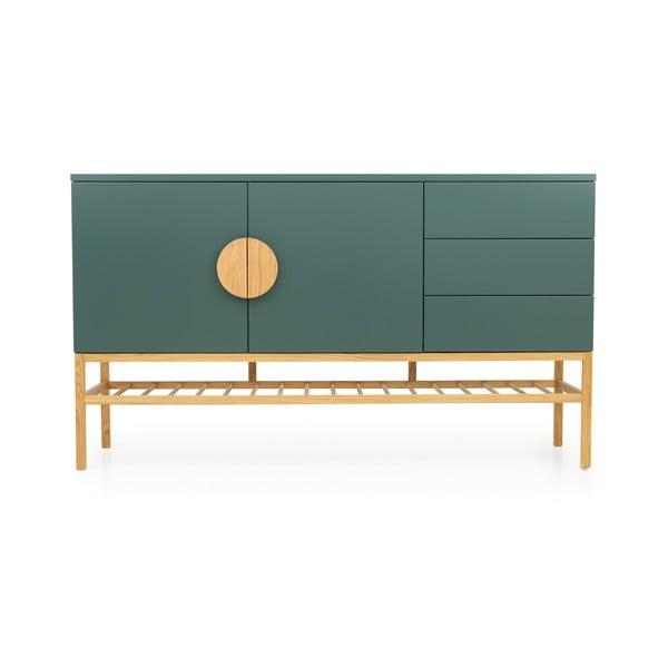 Zielona 2-drzwiowa komoda z 3 szufladami i nogami z drewna dębowego Tento Scoop, szer. 176 cm