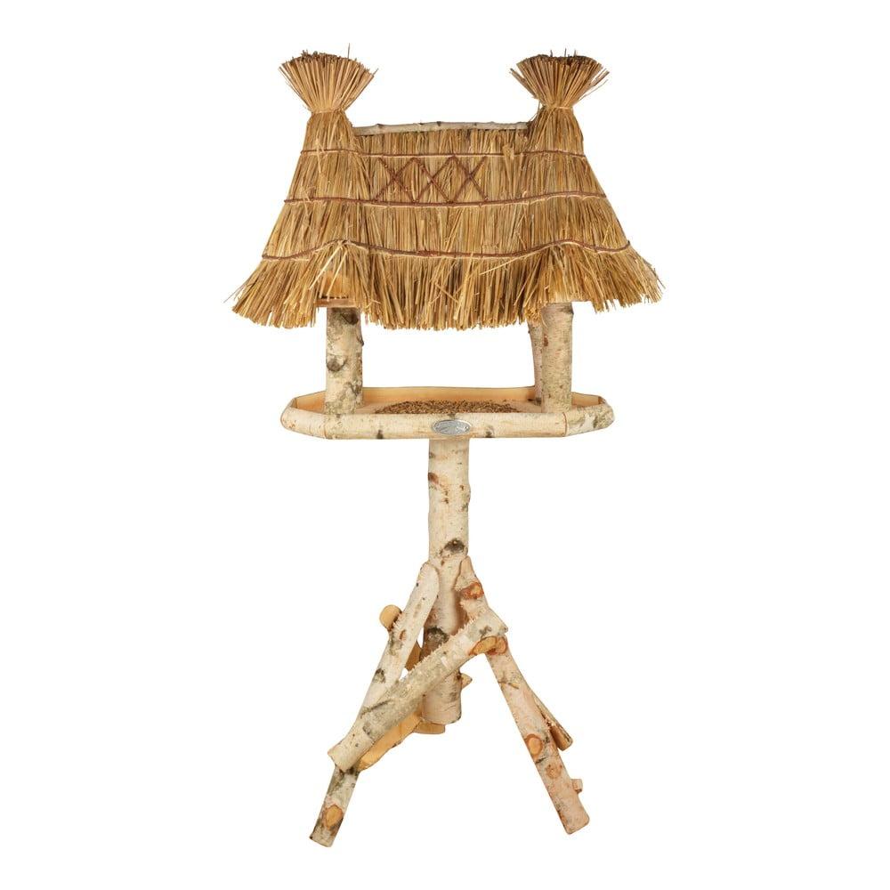 Dřevěné krmítko pro ptáky s rákosovou střechou Esschert Design, výška156cm