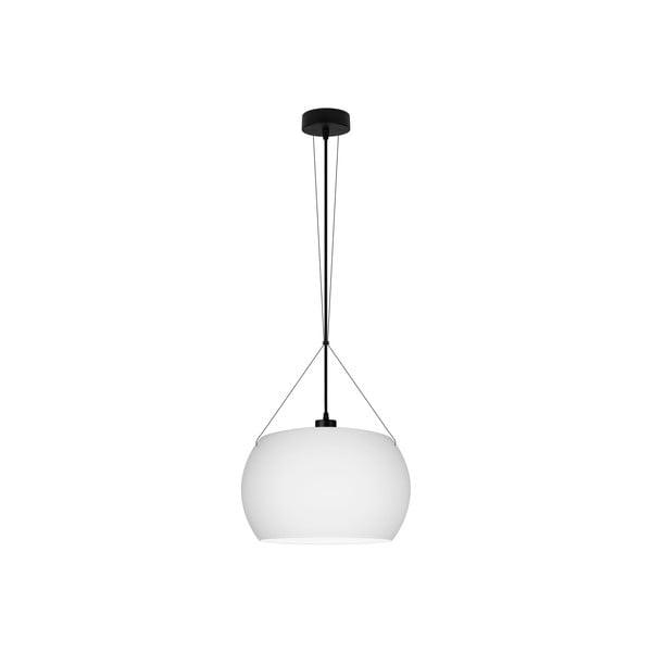 Bílé matné závěsné svítidlo s černým kabelem Sotto Luce MOMO