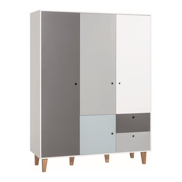 Bílo-šedá čtyřdveřová šatní skříň s modrým detailem Vox Concept