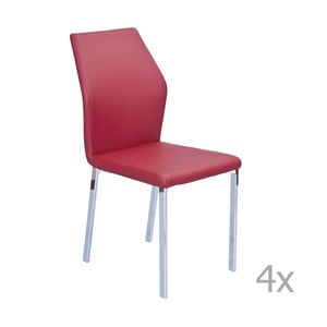 Set 4 scaune  13Casa Bilbao, roșu închis