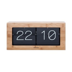 Ceas de birou cu design retro Present Time Flip, culoare lemnului