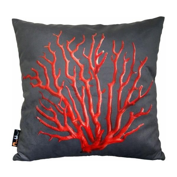 Polštář Red Coral on Grey, 45x45 cm