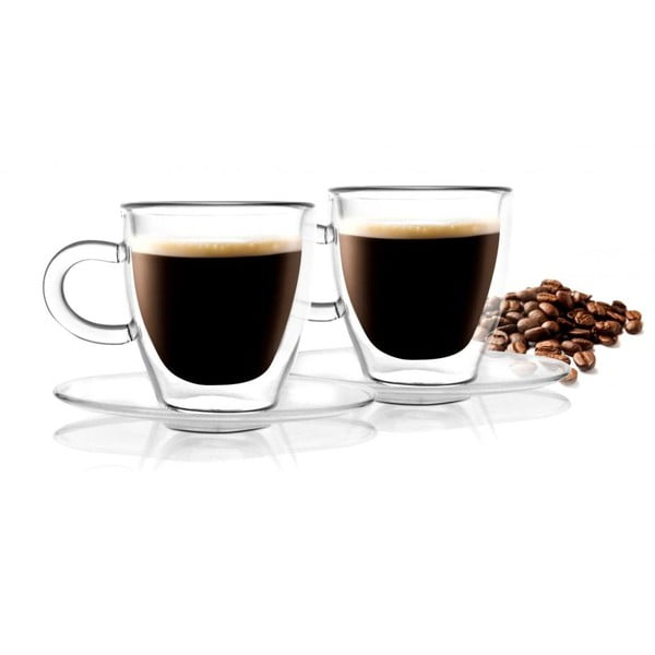 Set 2 cești cu perete dublu Vialli Design Amo Espresso, 50 ml