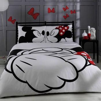 Lenjerie de pat cu cearșaf din bumbac Mickey & Minnie Adore, 200 x 220 cm de la Unknown