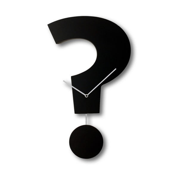 Nástěnné kyvadlové hodiny Question Time, černé