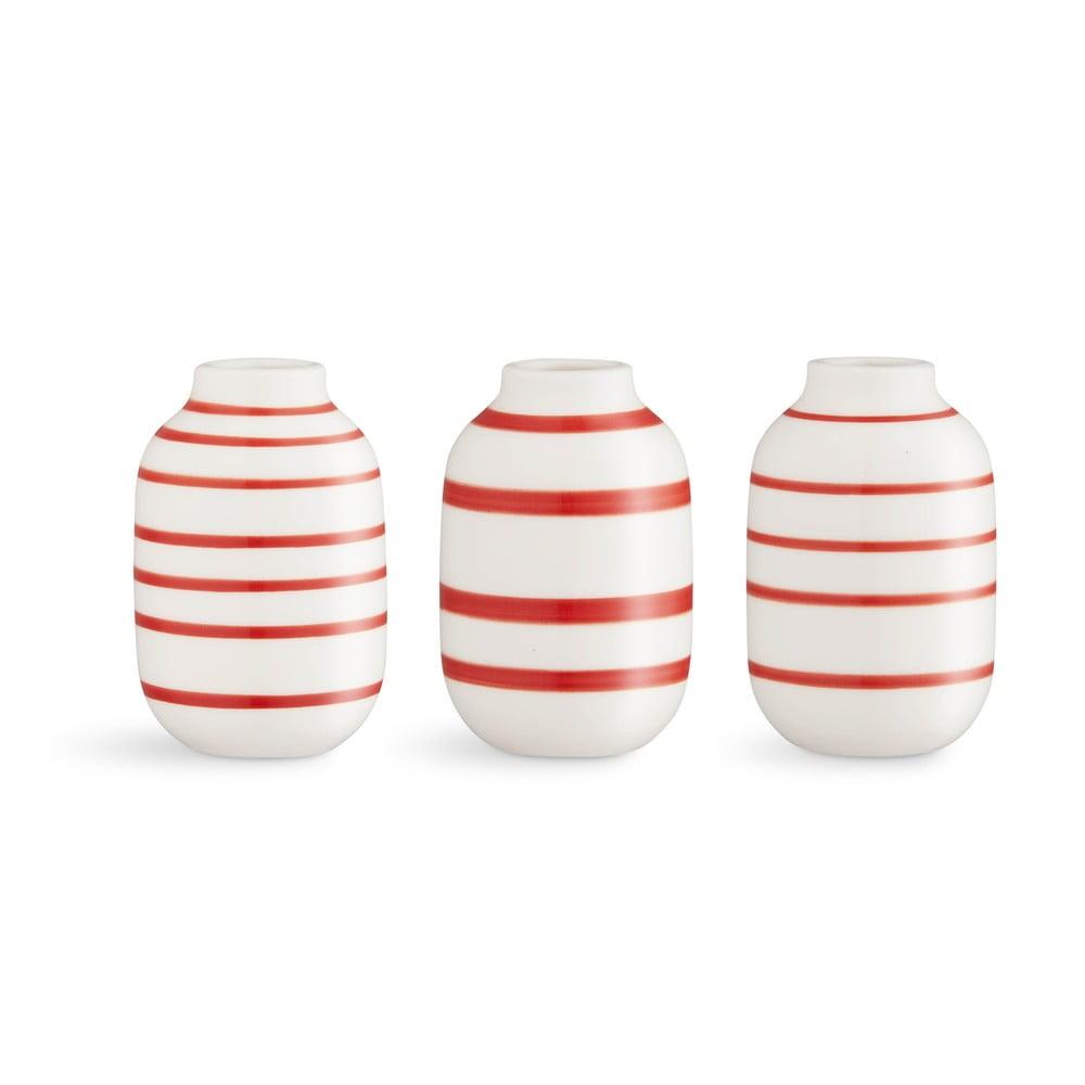 Sada 3 bílo-červených pruhovaných porcelánových váz Kähler Design Omaggio
