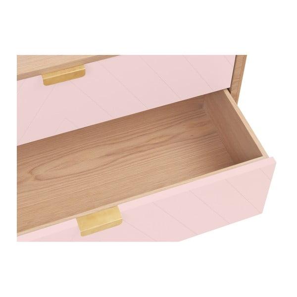 Růžová komoda z dubového dřeva s 3 zásuvkami HARTÔ Marius