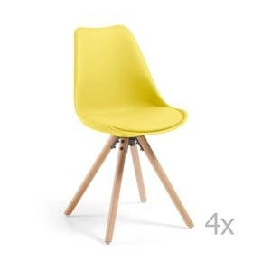 Sada 4 žlutých jídelních židlí s dřevěným podnožím La Forma Lars