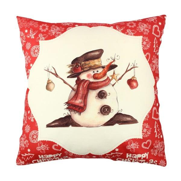 Snowman Red&White párna, 43 x 43 cm