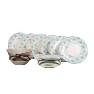 Sada 18 ks keramických talířů Madeleine Blue