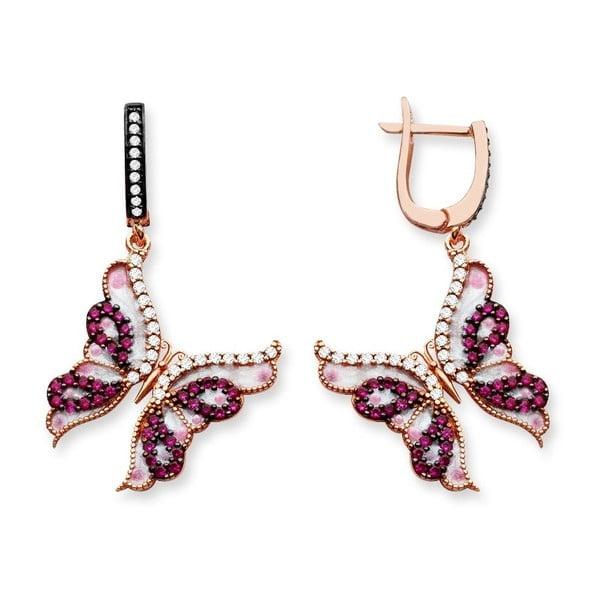 Cercei aurii cu fluturi roz Baghira Diadema