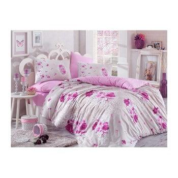 Lenjerie de pat cu cearșaf din bumbac Matilde Purple, 200 x 220 cm de la Hobby