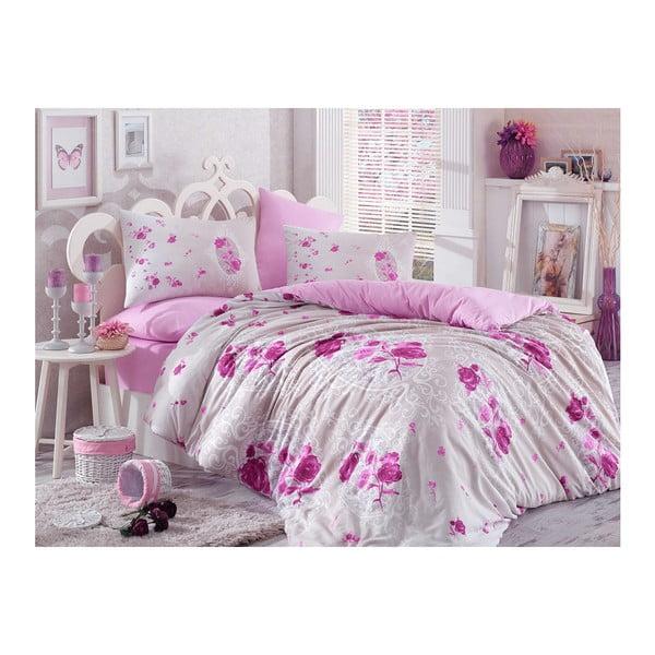 Lenjerie de pat cu cearșaf din bumbac Matilde Purple, 200 x 220 cm