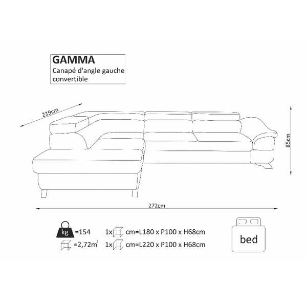 Hnědá rozkládací rohová pohovka Windsor & Co Sofas Gamma, levý roh