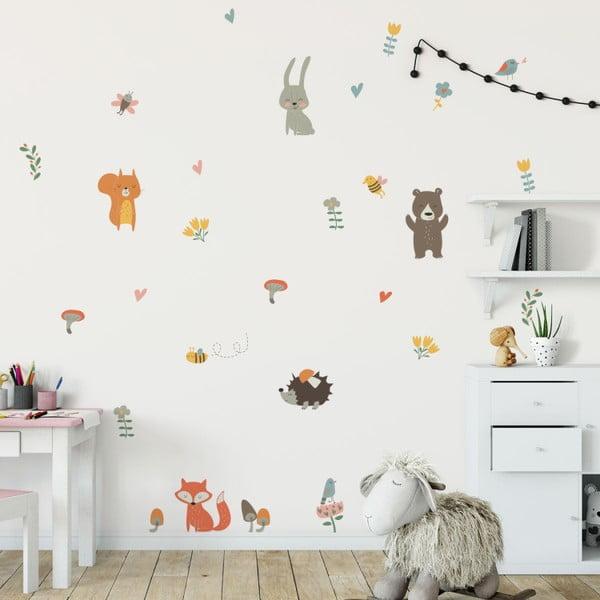 Sada nástěnných dětských samolepek Ambiance Funny Scandinavian Animals