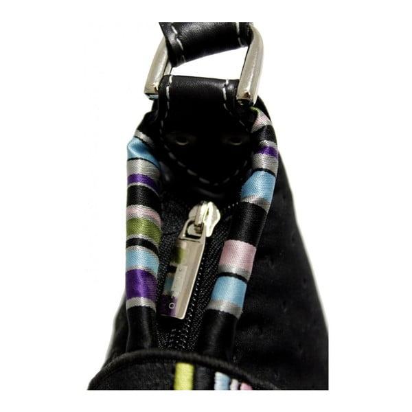 Prošívaná kabelka Goddess s vyšívanou klapkou, černá