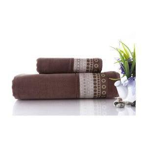 Set dvou ručníků Golf Brown, 70x140 a 50x90 cm