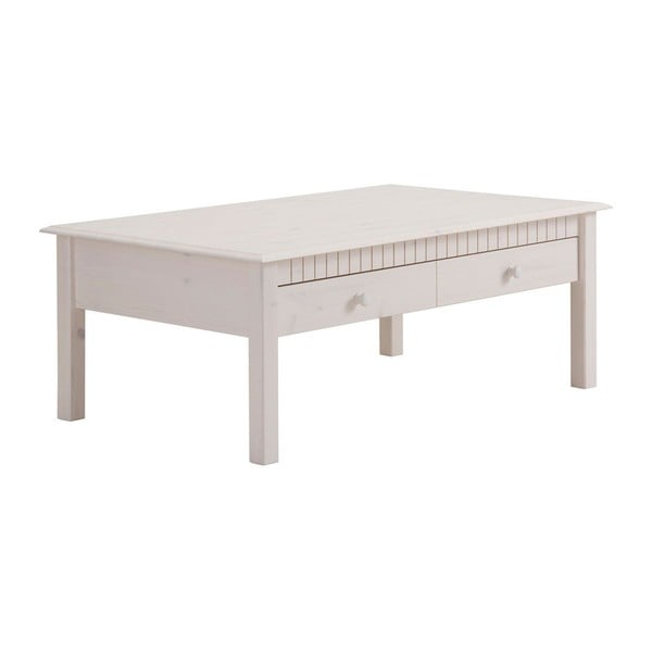Biały stolik z litego drewna sosnowego z 2 szufladami Støraa Linda