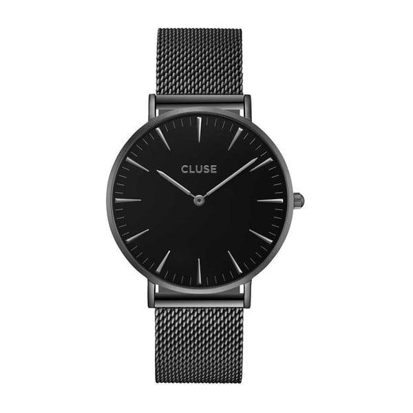 Dámské černé hodinky s ocelovým řemínkem Cluse La Bohéme