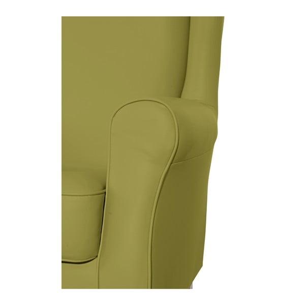Zelené křeslo ušák Max Winzer Lorris Leather Apple
